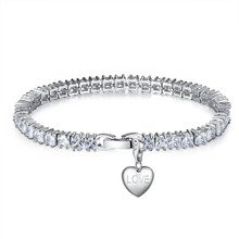 Mimeng Luxury Clear  Crystal Rhodium Plated Chain Bracelet VALENTINES DAY GIFT Best idea LOVE MOM FRIEND SISTER GIFT