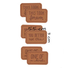 Custom 3000 pcs(1000 pcs/design) embossed letters pu leather label brown tags 5.5 cm * 3 cm(China)