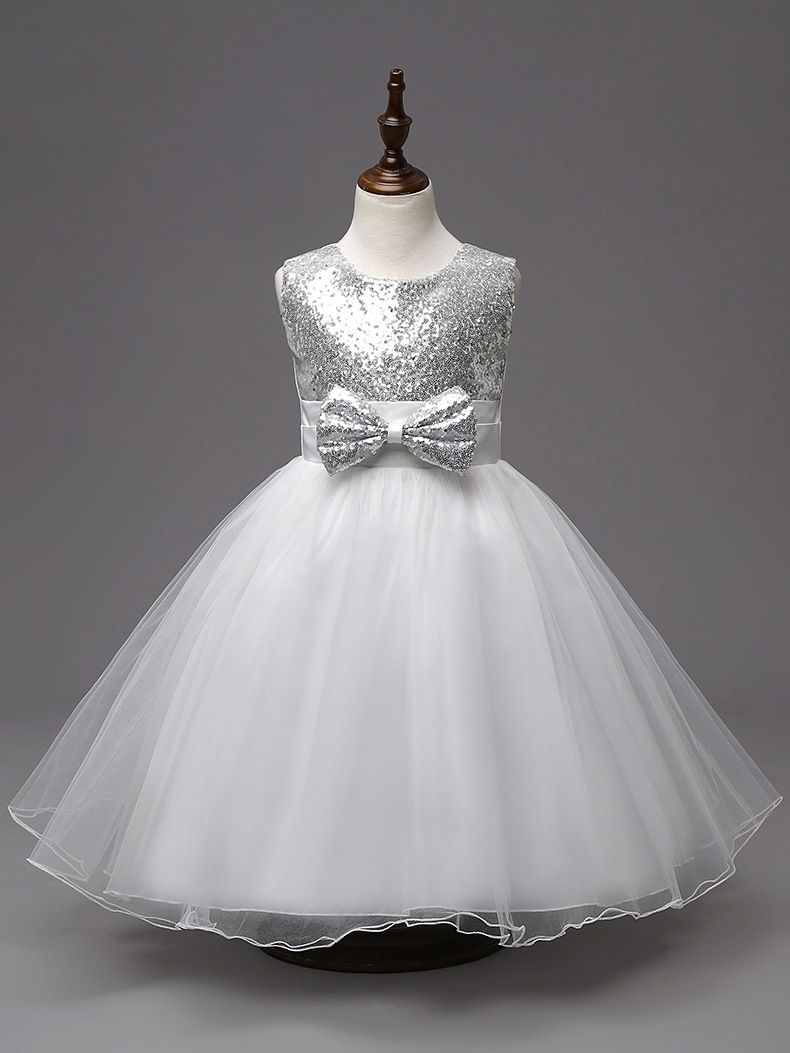 new fashion silver sequined bow knee length party girls evening dresses for kids<br><br>Aliexpress
