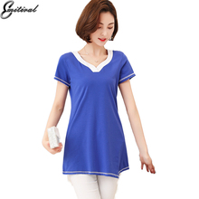 2017 Summer New Fashion Women t-Shirts Sexy V Neck Short Sleeve Cotton Tees Plus Size Casual Loose Ladies T-Shirt tops 4XL