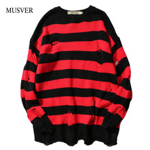 MUSVER 2017 Autumn Winter Fashion Ripped Stripe Knit Sweaters Men Hip Hop Hole Casual Pullover Male Loose Long Sleeve Sweaters(China)