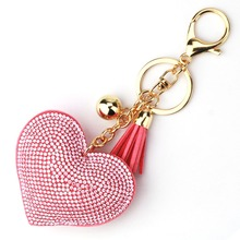 15 Colors Fashion Car Play Full Crystal Rhinestone Heart Key Chain Gold Silver Chain Keychain Bag Car Hanging Pendant Jewelry(China)
