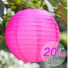 "10PCS 8"" Hot Pink Paper Lantern Lampshade Wedding Birthday Bridal Shower Party Hanging Decoration"