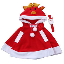 Hot sale Kids Childrens' Christmas Costume Deer Hooded Cosplay Cape Cloak coat for Boys Girls Autumn winter perfect gift MUQGEW(China)