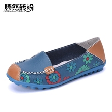 Vintage Genuine Leather Women Flats Moccasins Loafers Girls Breathable Outdoor Cow Muscle Outsole Floral Flat Shoes Woman(China)