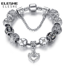 ELESHE Fashion Silver Heart Charms Bracelet Bangle for Women DIY 925 Crystal Beads Fit Original Bracelets Women Pulseira Jewelry(China)