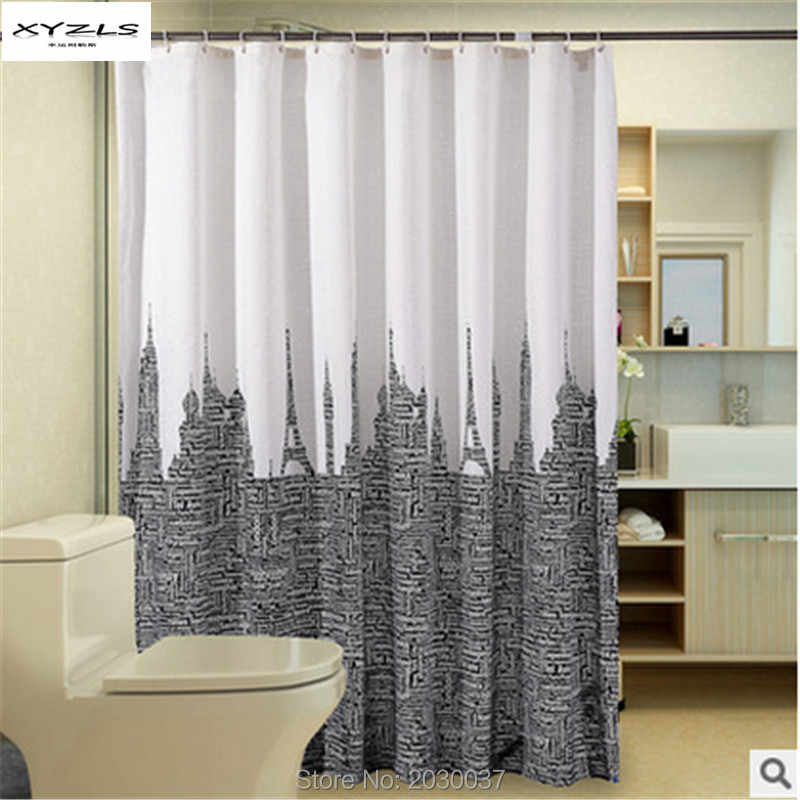 2016 New Letters Tower Printed Waterproof Moldproof Polyester Bathroom Shower Curtain Eco-friendly Shower Curtain with Hooks