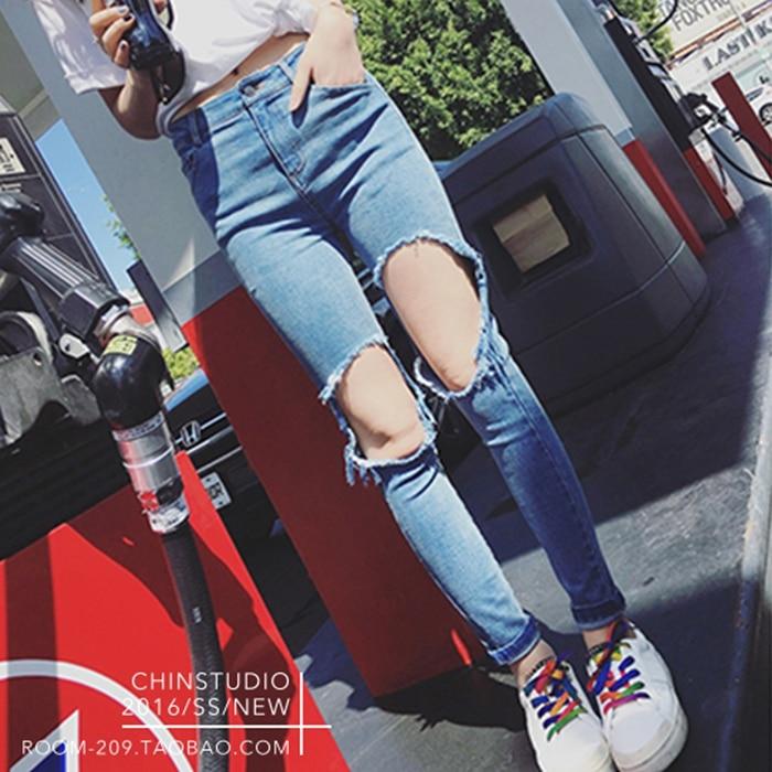 plus size denim jeans pants women spring autumn 2017 bermuda feminina hole jeans women loose pants female A0923Одежда и ак�е��уары<br><br><br>Aliexpress