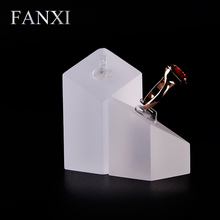 FANXI Free shipping custom wholesale 6 set/lot matte acrylic jewellery shop show case frosted organic glass ring exhibitor stand(China)
