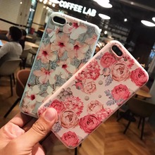 i6 For Coque iPhone 6 Case Candy Color Lily Fashion Phone Cases for iPhone 6 6s 7 Plus Cover Fresh Bud Rose Cartoon Soft Case(China)