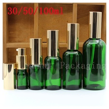 Essential oils,Green Glass Dropper Bottle With Golden Pump Head Massage oil Exclusive use Packaging Bottle, Beauty & Skin Care