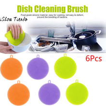 6Pcs Silicone Dish Washing Sponge Scrubber Kitchen Cleaning antibacterial Tool Powerful Dish Cleaning Brush For Kithchen(China)