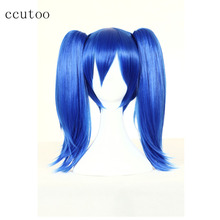ccutoo Perrque Blue Medium Cosplay Wigs High Temperature Fiber Synthetic Party Costume Hair Chip Ponytails
