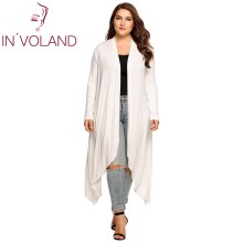 IN'VOLAND Women Cardigan Jacket Plus Size Autumn Open Front Solid Draped Lady Large Long Large Sweater Big Oversized L-5XL(China)