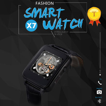 best selling touch screen sim card camera smart watches phone watch leather watch straps wristwatch support FM radio for android(China)