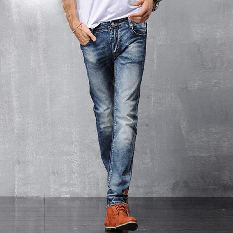Fashion Casual Jean Biker Jeans With Zipper Fly Solid Color Midweight Pencil Pants Slim Fit Jeans Men TC153Îäåæäà è àêñåññóàðû<br><br>