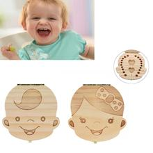 Baby Tooth Box organizer for baby Milk teeth Save Wood storage box for kids 3-6 years Spanish tooth wooden boxes dente de leite(China)