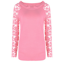 Hot Sale Women Long Sleeve Lace Patchwork Casual Pullover Ladies Sweaters Beige Blue Pink Black S M L XL XXL XXL XXXL