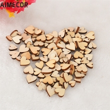 Aimecor Lovely pet 100pcs Rustic Wood Wooden Love Heart Wedding Table Scatter Decoration Crafts DIY mar29