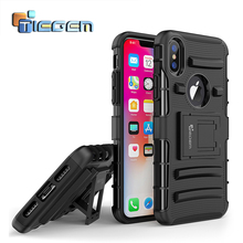 TIEGEM Kickstand Phone Case For iPhone X 10 5.8 inch Coque Soft Silicone Back Cover Shell Case For iPhone X with Stand Holder(China)