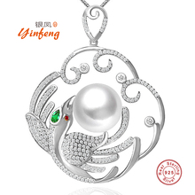 [MeiBaPJ] Luxury large phoenix pendant necklace jewelry 12-13mm big natural freshwater pearl with real 925 sterling silver(China)