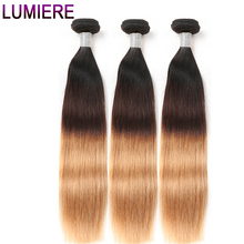 Lumiere Hair 3 Tone Ombre Brazilian Straight Hair Weave Bundles 1B/4/27 Non Remy Human Hair Extensions Can buy 3 Or 4 Bundles(China)