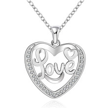 Specials package mail silver plated jewelry elegant women romantic shiny inlaid stone love heart pendant necklace N634 Kinsle(China)