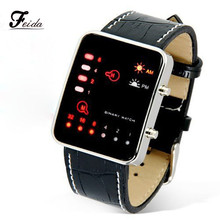 Feida Men's watch Digital Red LED Sport Wrist Watch Binary Wristwatch PU Leather Women Relogio masculino Reloj hombre 2017
