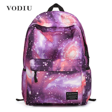 High Quality Waterproof Canvas Women Men Backpack Vintage Printing Space Galaxy Star Rucksacks School Laptop Bags Travel Casual(China)