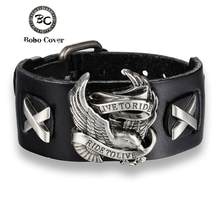 Buy Bobo Cover Punk Style Male Rider Eagle Genuine Leather Bracelet Ride live Charm bracelets & bangles Men pulseira de couro for $2.74 in AliExpress store