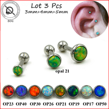 BOG-Lot 3pcs 316L Surgical Steel Ear Tragus Cartilage Barbells Piercing Stud Ring With Opal Stone 16g Body Jewelry Earring(China)