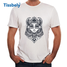 Tissbely Funny Gothic Style Men T Shirt Hand Drawn Vintage Illustration of the Ancient Cleopatra's Head Tee Male Tops