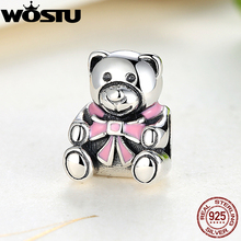 100% 925 Sterling Silver Girl Teddy Bear Charm Fit Original WST Bracelet Necklace Authentic Jewelry Gift(China)