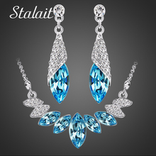 Buy Wedding Bridal party Austrian element Crystal Silver Color water drop Pendant Necklace Earrings Jewelry Sets for $2.99 in AliExpress store