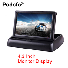 Podofo 4.3 Inch TFT LCD Car Monitor Foldable Monitor Display Reverse Camera Parking System for Car Rearview Monitors NTSC PAL(China)