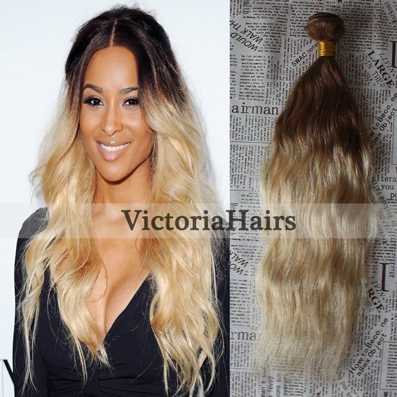 Hot Queen 8A Brazilian Ombre Virgin Hair Weaves Bundle1pcs/lot #4/60 Double Weft Water Wave Human Hair Bundles<br><br>Aliexpress
