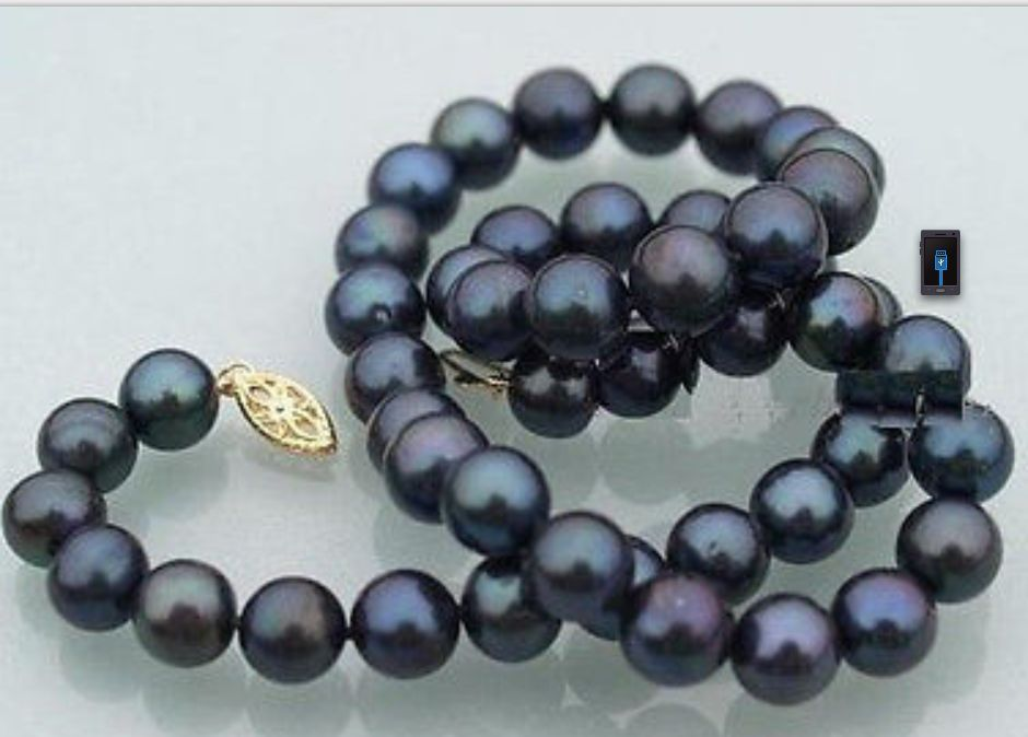 free shipping 10-11mm NATURAL black blue earl necklace 18inch 14k