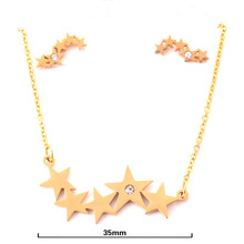 Stars Gold Color Stainless Steel Jewelry Set High Quality Earrings and Pendant with 45cm Chain JS03004