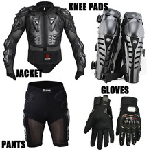 4PCS Motorcycle jackets Racing Motorcross Body Armor Protective Jacket+ Gears Short Pants+Motorcycle Knee Protector+Moto gloves