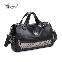 YBYT brand 2017 new fashion casual thread rivet women handbag hotsale ladies black boston totes shoulder messenger crossbody bag