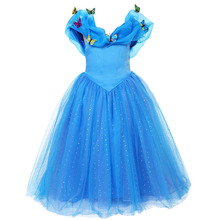 Pettigirl High Grade Girl Blue Anna Elsa Dress Fancy Sequined Princess Cinderella Dress for Cosplay Party Costume GD50310-01(China)