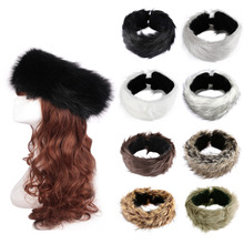 New 3 in1 Faux Rabbit Fur Hair Band Women Headband Hair Rings Head Wear Elastic Band Hair Neck Tube Scarf Ear Warmer Hat W1(China)