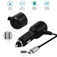 5V/2.4A HIGH SPEED Car Charger With 2.4A Dual USB Ports + 2A Type C Charger Cable For Samsung S8/S8Plus A3 A5 2017 For Oneplus 5