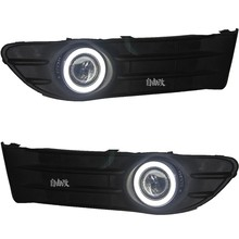 DRL daytime running light COB angel eye, projector lens fog lamp with cover for volvo s40, 2 pcs