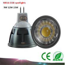 10X High quality MR16 spotlights 9W 12W 15W COB Bulb 12V dimmable LED lamp perfect replacement CREE  COB Spotlight