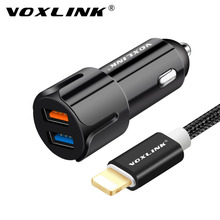 VOXLINK 10W 2A 2 Port Car Charger,Mini Fast USB Car Charger Adapter With 1m/3ft Lightning to USB Cable for iPhone 8 7 6 6s Plus(China)