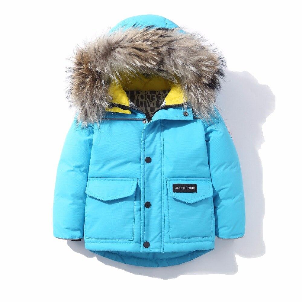 Winter Children Girls Boys Down Jacket Parka Coats Kids Thickening Warm Hooded 80% White duck down High-quality Outerwear<br>