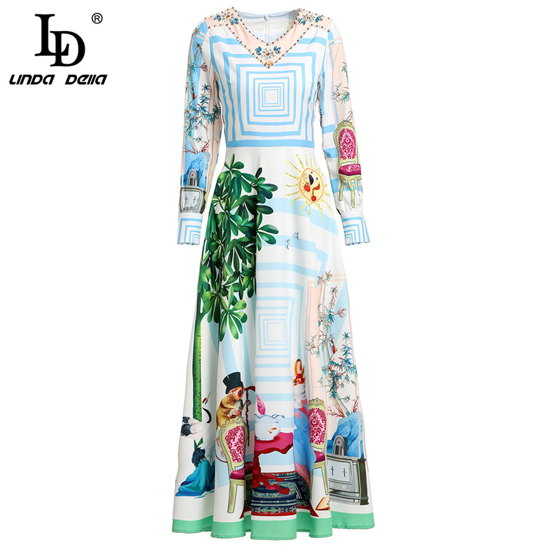 LD LINDA DELLA Spring Fashion Runway Long Sleeve Dress Women's V Neck Beading Printed Bohemian Holiday Casual Long Dress