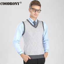 2017 New Arrival High Quality V-Neck Vest Men Argyle Business Coat Sleeveless Cashmere Sweater Men Casual Wool Pullover OEM 6402(China)