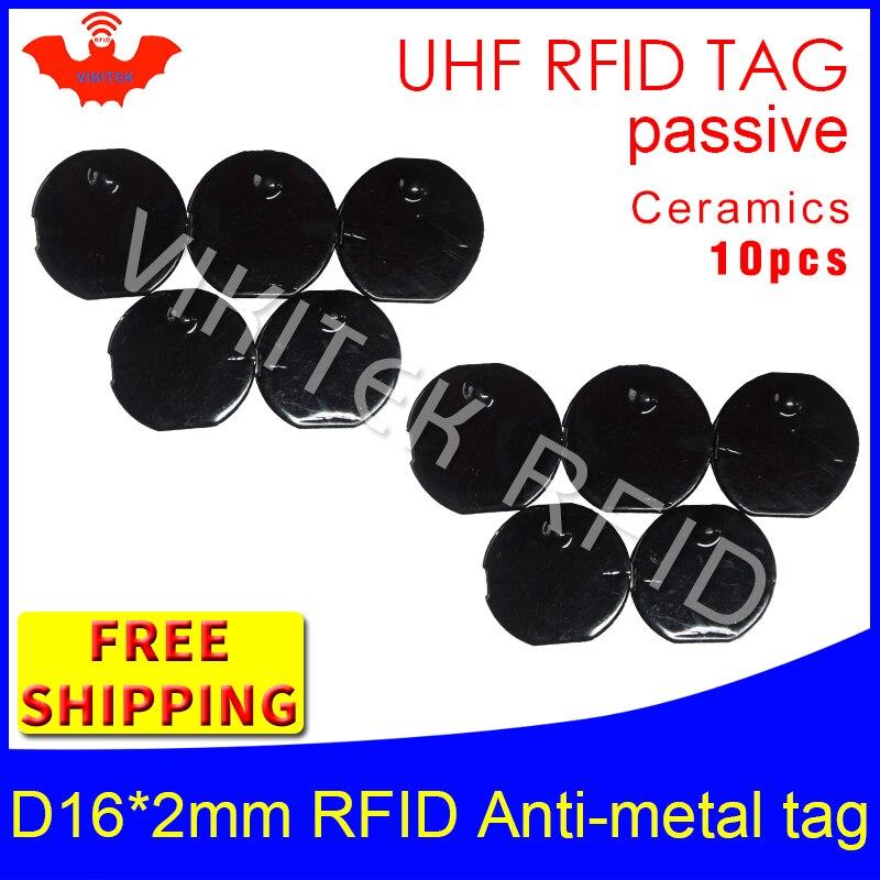 UHF RFID anti metal tag 915mhz 868mhz Alien Higgs3 EPC 10pcs free shipping D16mm*2mm small circular Ceramics passive RFID tags<br>